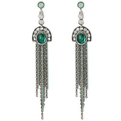 Fashion Earring Exaggerated Diamond Long Retro Tassel Earring Handmade Earring Ethnic Style Jewelry