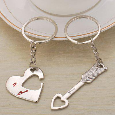 Key Pendant Heart Lock An Arrow Through Heart Hollow Key Ring