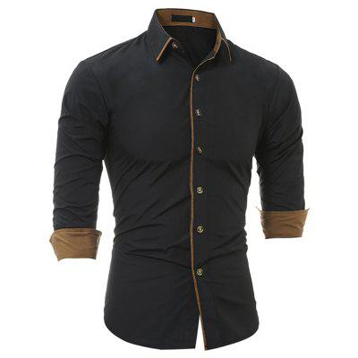 Autumn and Winter Classic Color Matching Personality Men Casual Slim Long-sleeved Shirt