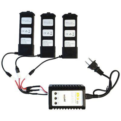 7.4V 1800mAh Battery 3pcs + 3 in 1 Charging Cable Adapter for MJX B5W Quadcopter Mandrels Battery Charger