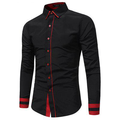 Autumn and Winter Fashion Stitching Casual Men Business Long-sleeved Large Size Shirt