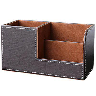 LBE3842 Business PU Leather Pen Holder Business Card Holder Multi-function Desktop Storage Box Cosmetic Case