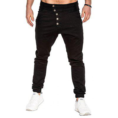 Men Fashion Button Stitching Trousers Solid Color Casual Harem Pant