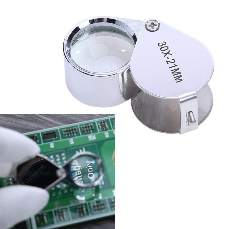 30 Times Magnifying Glass 30X21MM Metal Folding Precision Glasses Jewelry Antique Identification Watch Repair Tools - SILVER
