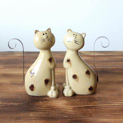 Pair of Ceramic Cat Crafts Home Couple Lovers Cat Ornaments