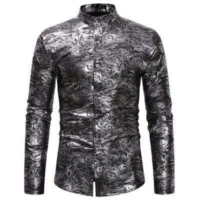 Print Base Casual Stand Collar Long Sleeve Shirt