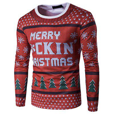 Christmas Round Neck 3D Personalized Print Long-sleeved T-shirt