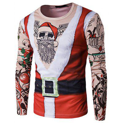 Personality Christmas Service Santa Claus Round Neck 3D Long-sleeved T-shirt