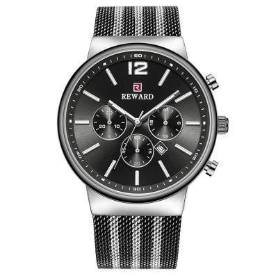 REWARD 63060 Mesh Calendar Waterproof Business Casual Men Quartz Watch with Original Box