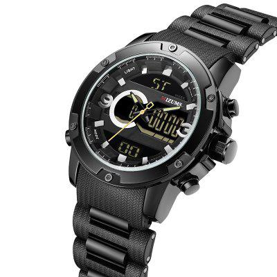 MIZUMS 8010 Men Double Movement Sports Electronic Waterproof Quartz Watch