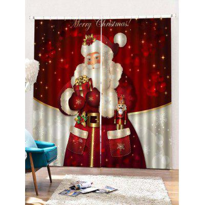 Santa Claus Pattern Window Curtain 2PCS