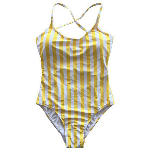 46afba0832c Digital Printed Yellow Striped One-piece Swimsuit | Gearbest