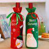 Santa Wine Bottle Cover Christmas Decoration Props Embroidered Sequins 2pcs - MULTI-A