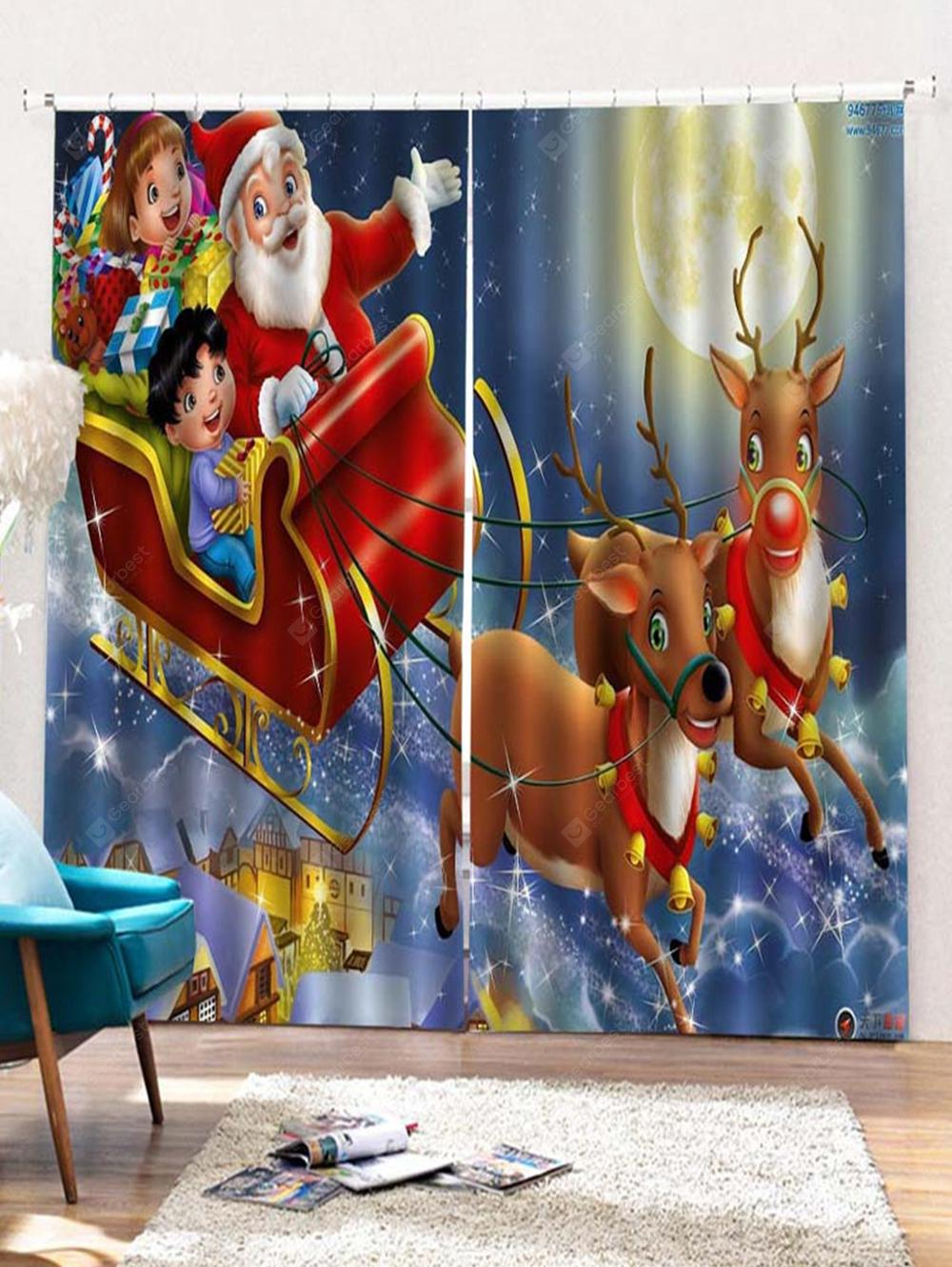 2pcs Father Christmas Deer Window Curtains