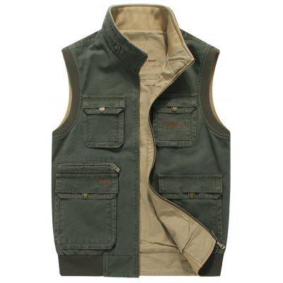 Men Casual Vest Outdoor Two-sided Cotton Vest Multi-pocket Vest