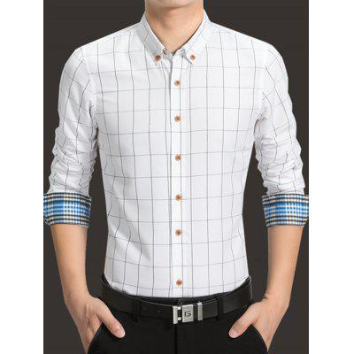 Slim Business Plaid Long Sleeve Shirt for Men