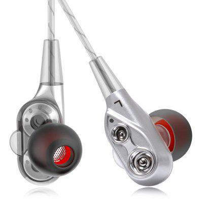 Quad-core Double Moving-coil HIFI Wire Control In-ear Earphones