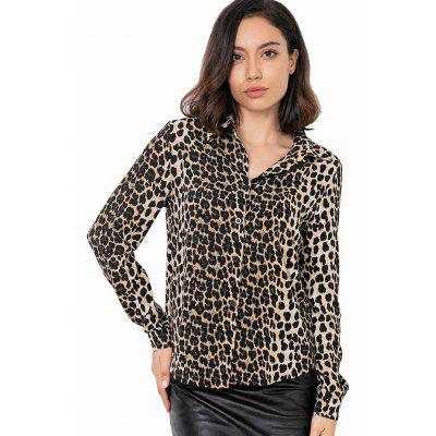 81777 Fashion Leopard Long-sleeved Shirt Women
