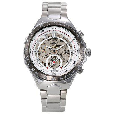 WINNER Men Sport Design Gold and Silver Steel Band Automatic Mechanical Watch