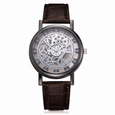 J001 Men Engraving Hollow Leather Band Quartz Dress Watch