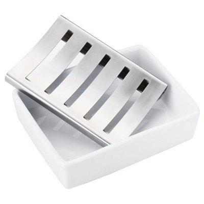 Stainless Steel Double Drain Rectangular Soap Dish Ceramic Cleansing Soap Dish Creative Bathroom Soap Box