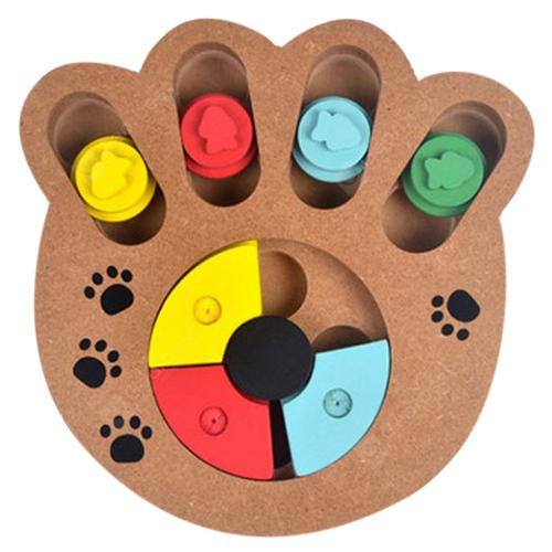 Pet Dog Puzzle Toy Bone Paw Print Type New Wooden Play Feeding Multi-function Pet Toy - WOOD