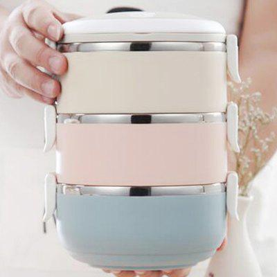 Round Stainless Steel Insulated Lunch Box Portable Four-layer Lunch Box Insulation Barrel