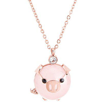 Rich Pig Clavicle Chain Cute Animal Pink Pig Necklace Titanium Steel Jewelry