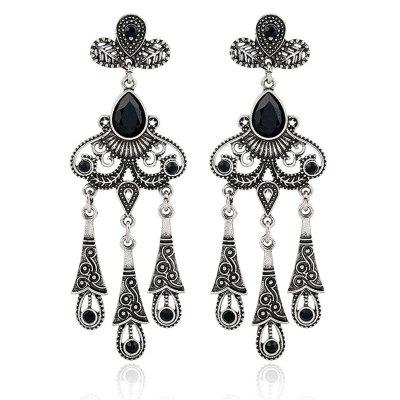 Jewelry Retro Ethnic Wind Hollow Leaves Gem Water Drops Tassel Earrings