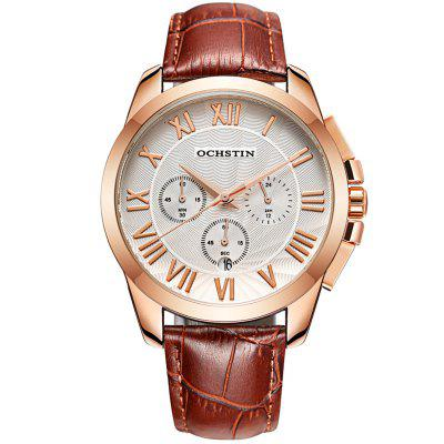 OCHSTIN 6059B Roman Scale Three-eye Multi-function Watch Waterproof Leather Belt Business Suitable For Men With Box