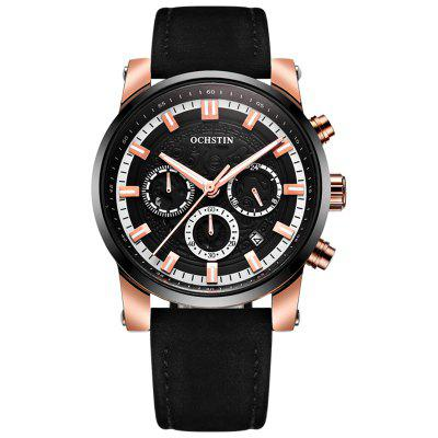 OCHSTIN 6111 Leather Strap Hollow Face Luminous Watch For Men With Box