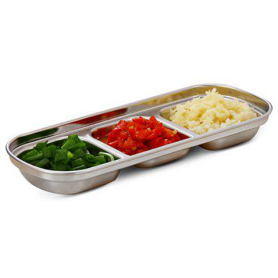 Stainless Steel 3 Grid Sauce Dish Small Dish