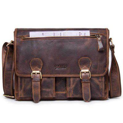 Retro Crazy Horse Leather Men Shoulder Bag