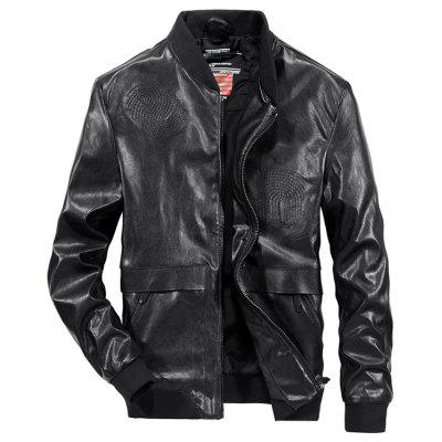 Men Leather Jacket Motorcycle Clothing with Dark Grain Collar