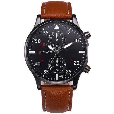 Mode lederen band mannen sport klok analoge quartz horloges