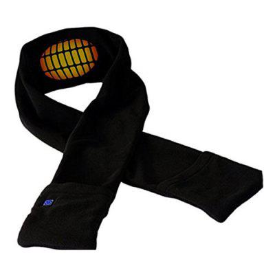 Rechargeable Adjustable Temperature Electric Heating Warm Scarf BLACK