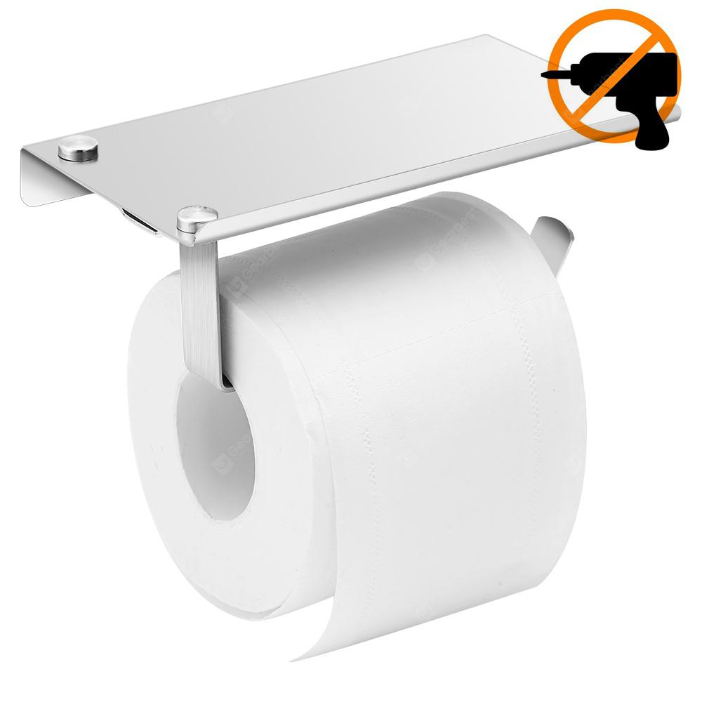Gocomma Stainless Steel Brushed Toilet Paper Holder without Drilling