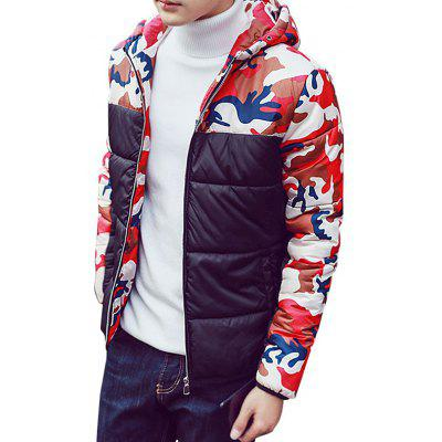 Winter Floral Pattern Quilted Hooded Cotton Coat
