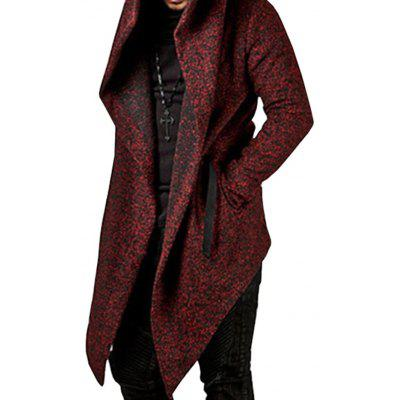 Men Irregular Hooded Long Cardigan Sweater
