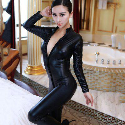 Ladies Sexy Pajamas Double Zipper Sexy Tight Body Piece Patent Leather Queen Dress Sexy Underwear
