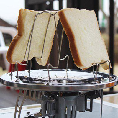 Stainless Steel Toaster Rack 4 Slice Toast Bread Plate Camping Picnic Grill Folding Collapsible Bread Tray