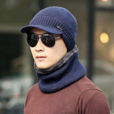 Male Winter Youth Warm Wool Hat Men Cotton Scarf Knit Cap Ear Protector Solid Color Set