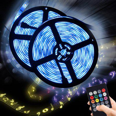 BRELONG Music Sensor 5m RGB 150-LED Strip Light for Decoration 2PCS