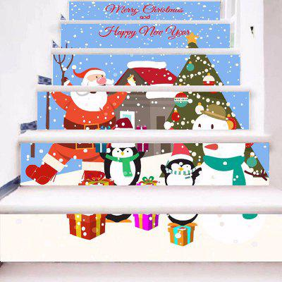 6 Stair Stickers Christmas Decoration Drawing Cartoon Santa Claus Penguin
