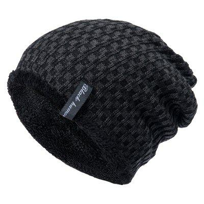 Knit Winter Warm Headgear Mixed Color Plaid Wool Cap