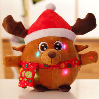 Cute Shine Sing Electric Christmas Santa Clause Elk Plush Toy