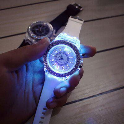 LED Fashion Colorful Luminous Glowing Quartz Watch Silicone Watchband 1PC