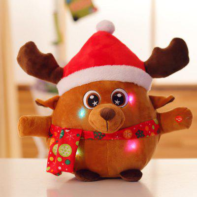 LED  Santa Claus Stuffed Doll Toys Singing Colorful Glowing Luminous Plush Gifts For Kids