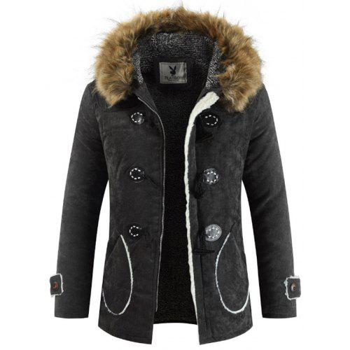 Theshy Men Cotton Stand Zipper Warm Winter Thick Coat Jacket Stand Collar Coat Autumn and Winter Thick Coat