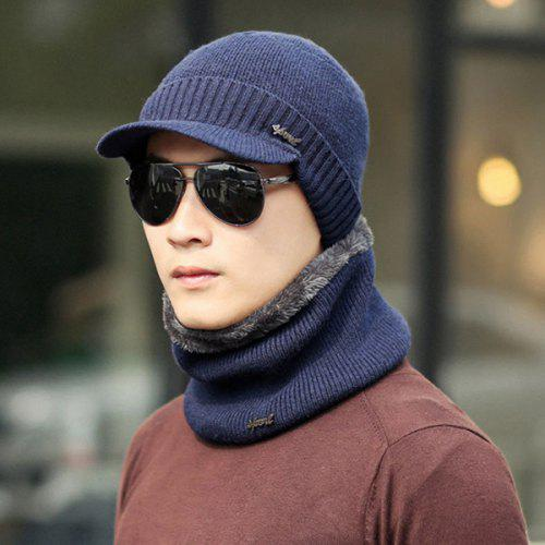bd14df34681 Male Winter Youth Warm Wool Hat Men Cotton Scarf Knit Cap Ear Protector  Solid Color Set